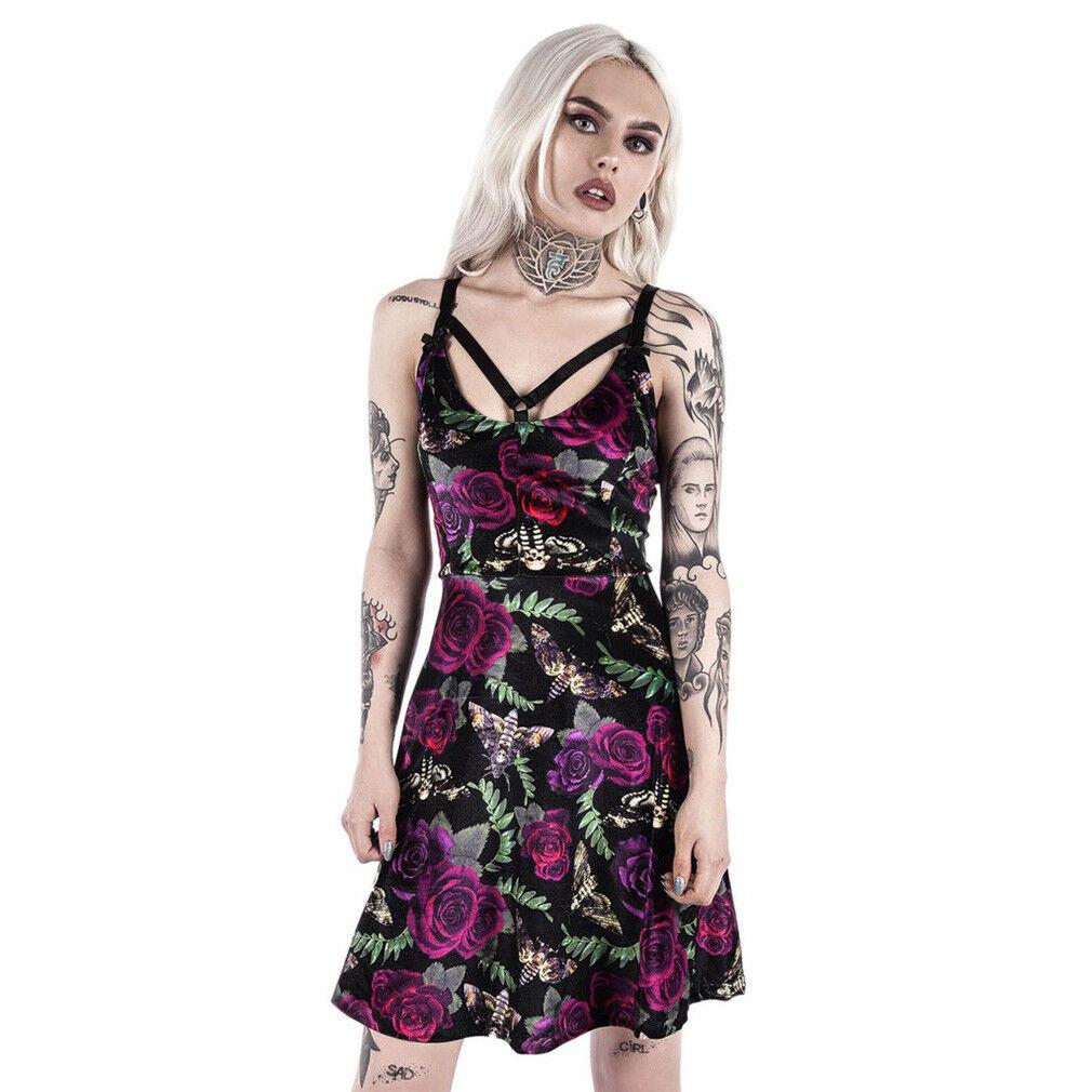 Killstar Samt Skater Kleid - Lydia Nightlife Rosen Gothic Pentagramm Skull
