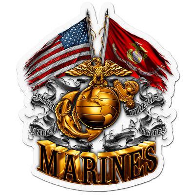 (USMC Dual Flags Globe Decal United States Marine Corps High Quality Reflective)