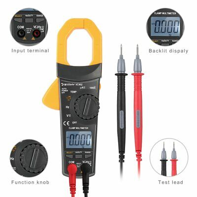 Digital Clamp Meter Tester Acdc Volt Amp Multimeter Auto Ranging Current 1000a