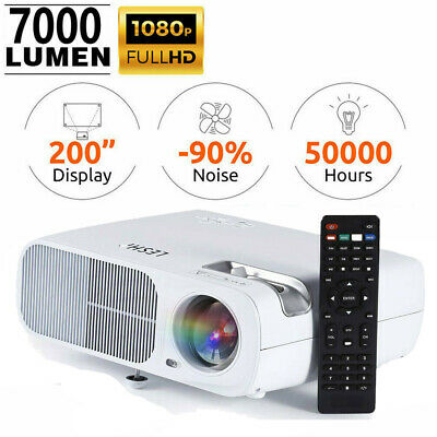 Portable 3D 7000 Lumens Full HD 1080P Projector HDMI USB VGA Home Theater NEW
