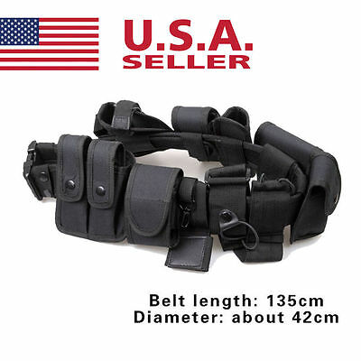 Tactical Nylon Police Security Guard Duty Belt Utility Kit System W Pouch Ap