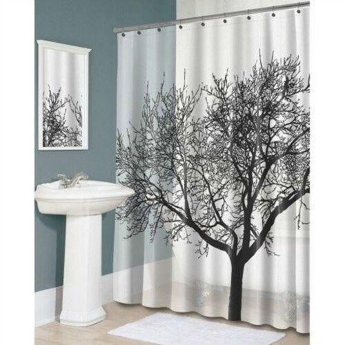 Black Tree Sketch Pattern Waterproof Fabric Shower Curtain Stylish Bathroom