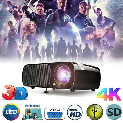 LED Smart Home Theater Projector 4K Wifi 1080p FHD 3D VGA HDMI Video Movie Bf