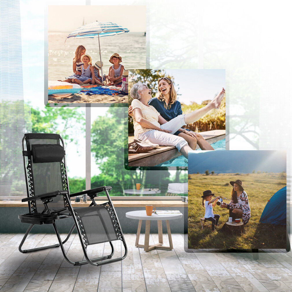 Zero Gravity Chairs Set of 2 Patio Adjustable Reclining Folding Chairs w/ Pillow Home & Garden