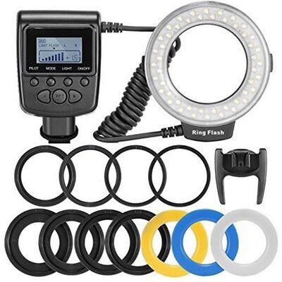48pcs LED Ring Flash Light RF550D + 8 Adapter Rings for Nikon Canon DSLR Camera