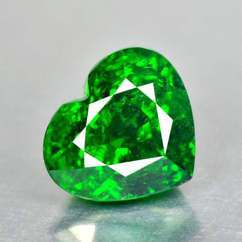 4.60Ct Custom Heart Cut Charming Vivid Green Color Unheated Tsavorite Garnet