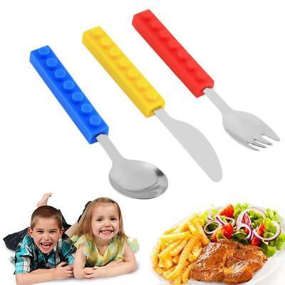 Lego Duplo Fan Kids Baby Cutlery Bundle Set Spoon Fork Knife Stainless Steel US