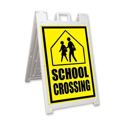 School Crossing Signicade A-frame Sign Sidewalk Sandwich Pavement Street Sign