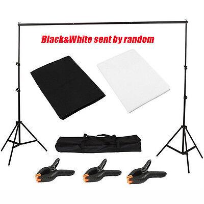 Photography Studio Black/White Backdrop Background Photo Stand Muslin Kit Set VP