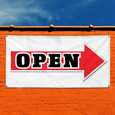 Vinyl Banner Sign Open Arrow Right Business Business Marketing Advertising Red