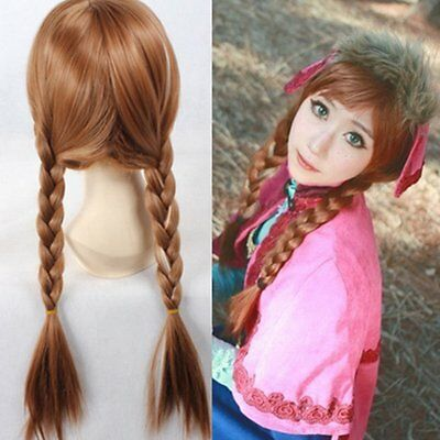 Anime Lolita Wavy ice Romance Elsa Anna Princess Cosplay Hair Wigs Good F7](Princess Anna Wig)