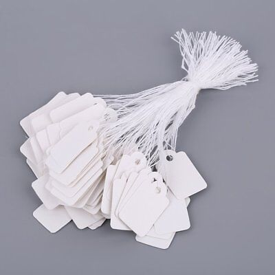 Rectangular Blank White 925 Silver Price Tag 100 Pcs With String Jewelry Lab I7