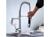 AURALUM Professional Single Handle Pull Out Chrome/Black Kitchen Tap