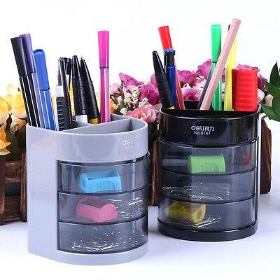 Office Desk Organizer Desktop Pen Pencil Holder Container Storage Box 3 Drawers