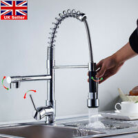 Uk Pull Out Kitchen Faucet Deck Mounted Vessel Sink Mixer Tap Single Handle Hole - ouboni - ebay.co.uk