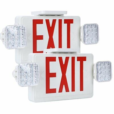 2 Pack - Red All Led Exit Sign Emergency Light Square Head Combo - Ul924 Combor2