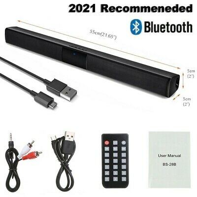 Surround Sound Bar 4 Speaker System Wireless BT Subwoofer TV Home Theater&Remote