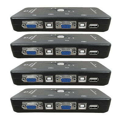 4fach KVM Switch Umschalter USB + VGA(VGA, Tastatur, Maus, Monito pc