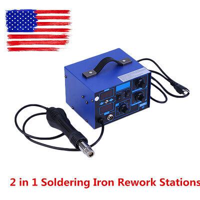 2 in 1 Soldering Iron Rework Stations SMD Hot Air Gun Desoldering Welder 862D+ K