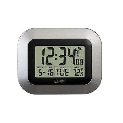 Self Setting Digital Home Office Decor Wall Clock With Indoor Temperature