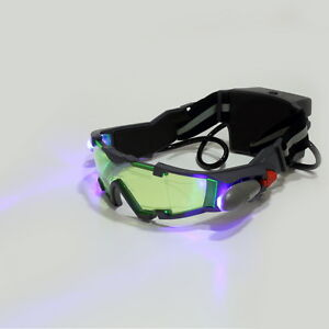 Nachtsicht Goggles Brille LED Lampe Licht Nachtbeleuchtung PC Night Vision Masks