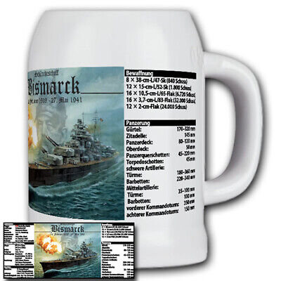 Schlachtschiff Barco Batallas Bismarck Con Datos Marina Pistola - Jarro,Jarra /