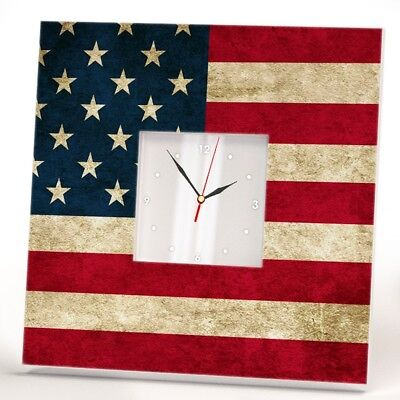 (USA Stars Stripes Flag Wall Clock Mirror United States Fan Art Home Decor Gift)