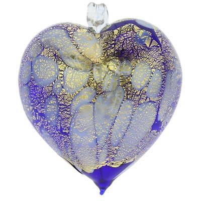 GlassOfVenice Murano Spyglass Spotted Heart Christmas Ornament - Blue Gold