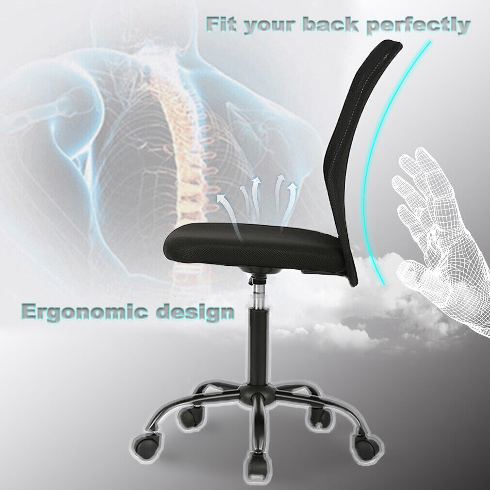 Black Mesh Office Chair Computer Middle Back Task Swivel Seat ErgonomicChair1265 Business & Industrial
