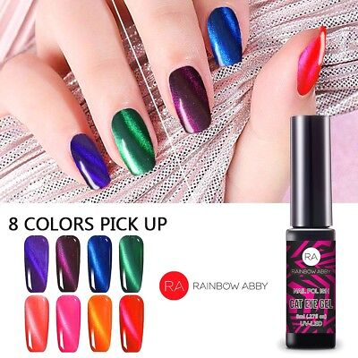 RA 8x 8ml Soak Off UV LED Cat Eye Magnet Nagellack Chamäleon Maniküre Tipps Gel