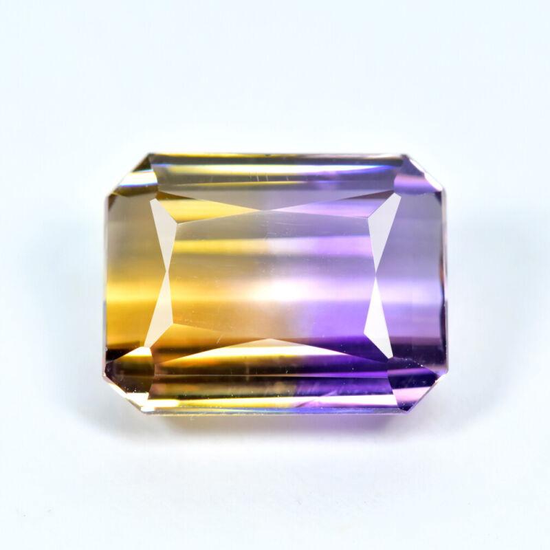 7.11Ct Emerald Cut, Fantastic Transparent Natural Bi-Color Ametrine Gemstone