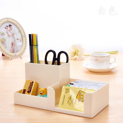 White Office Home Plastic Desk Pen Pencil Holder Storage Stationery Organizer