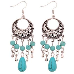 Unique Jewelry Tibetan Silver Flower Design Turquoise Beads Dangle Stud Earrings