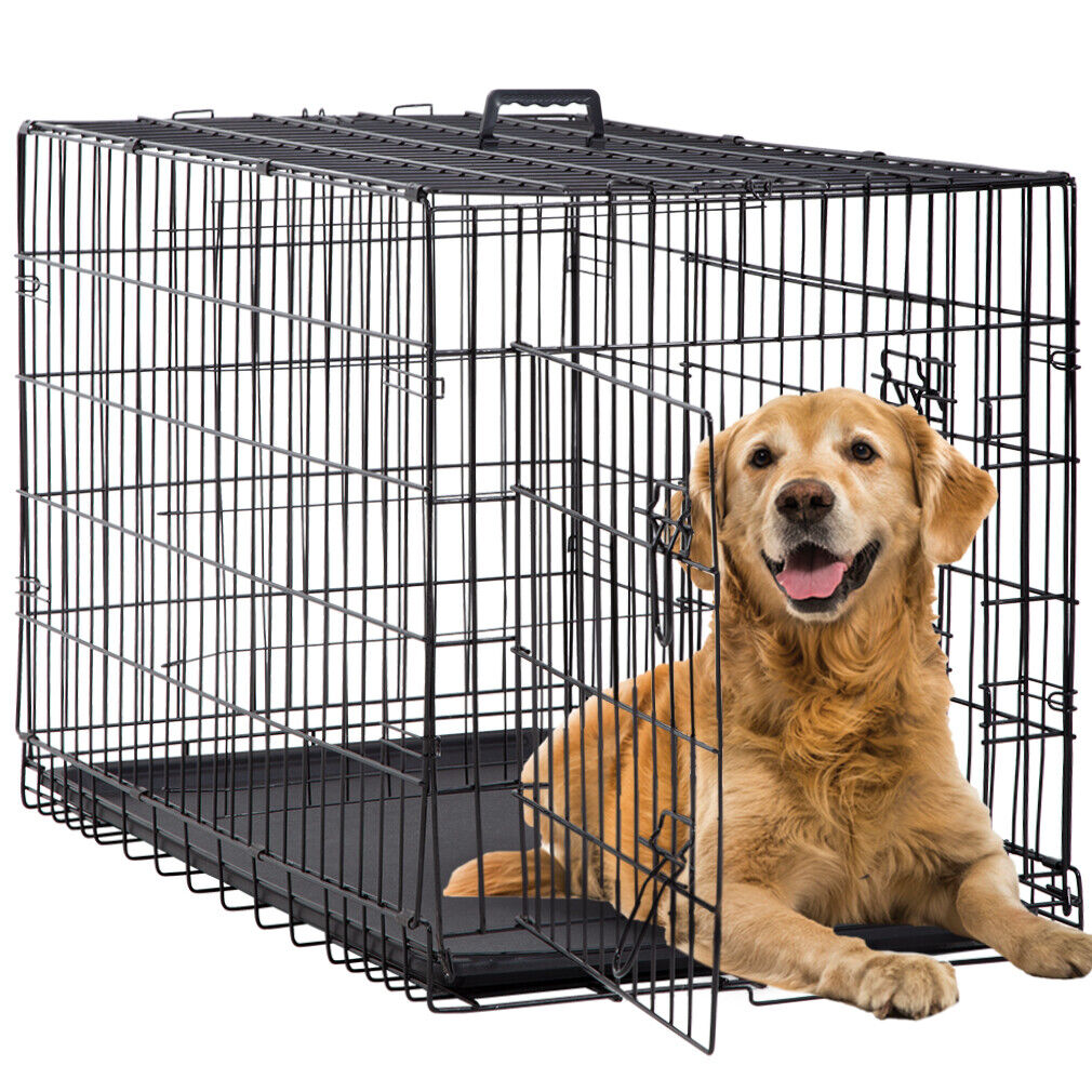 Dog Crate Extra Large Double Door Folding Dog Cage Pet Crate w/Divider&Tray,42″ Cages & Crates