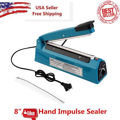 "8""Heat Sealer Poly Bag Machine Teflon Sealing Shrink Wrap 200mm Manual Impulse"