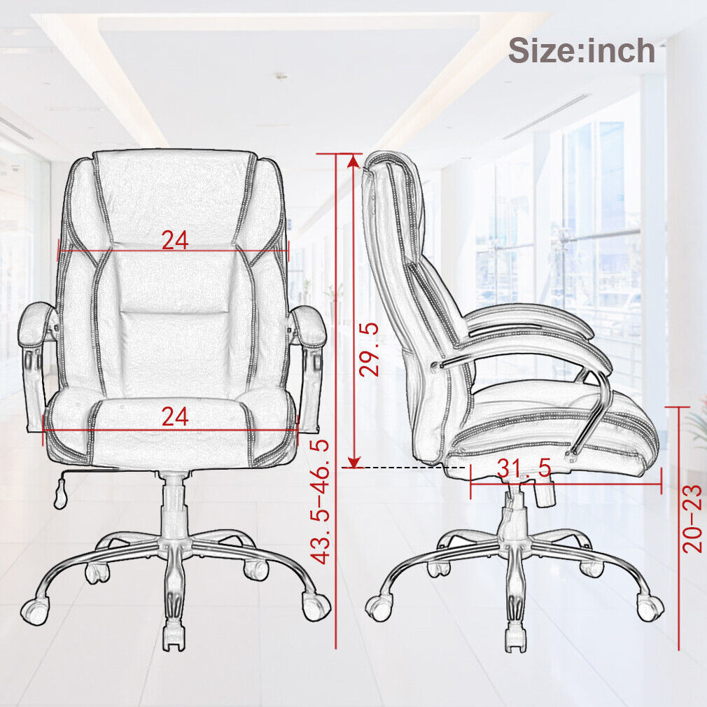Big and Tall Office Chair 500lbs Wide Seat Rolling Swivel chair W/Lumbar Support Chairs