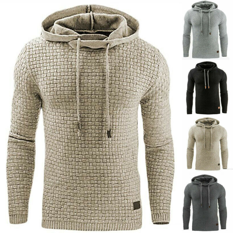 Men Hooded Sweatshirt Coat Plain Design Hoodie Sweater Pullo