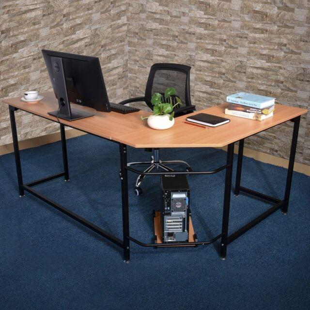 L Shape Corner Computer Desk Bookshelf Pc Table Home Office Furniture Wooden Sy