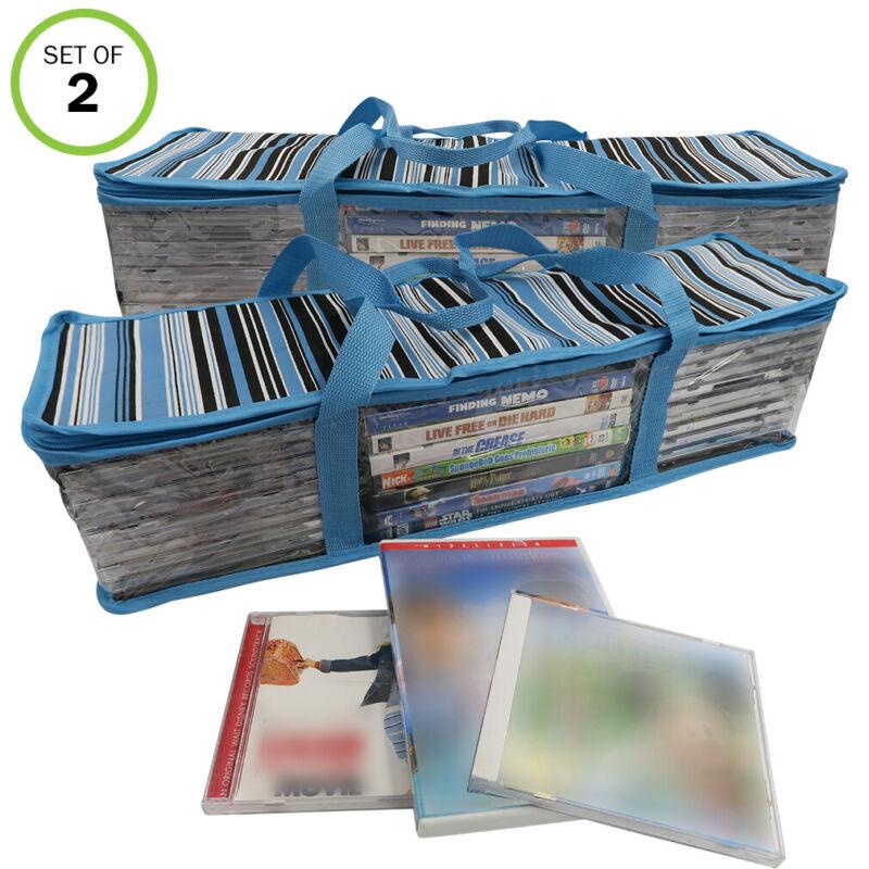 Evelots CD/DVD Storage Bag-2 in 1-Hold 48 CDs & 16 DVDs Total-Blue Stripes-Set/2