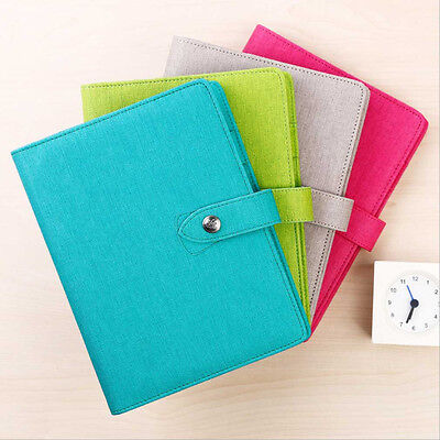 A5 Business Loose Leaf Planner Schedule Notebook Ruled Diary Snap Pu Leather New