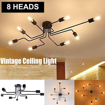 8-Head Ceiling Chandelier Light Vintage Steampunk Pendant Lamp Mount Fixture US