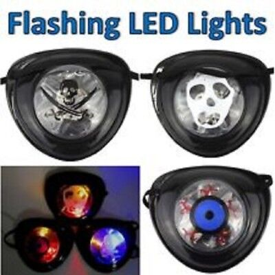 LED Light Up Flashing Halloween Pirate Eye Patch Costume Theater Skulls Ghosts  - Up Halloween Costumes