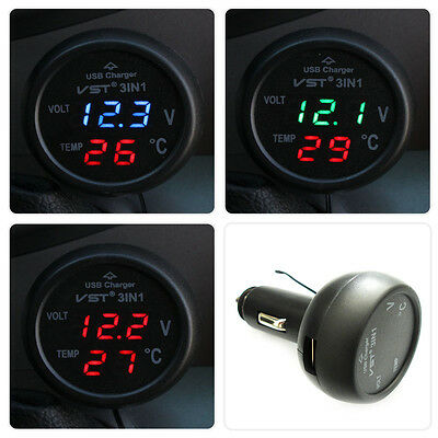 Multifunction Car Digital Voltmeter Thermometer Usb Car Charger 3 In1 D Kf