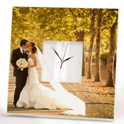 Personalized Wedding Photo Wall Clock Custom Portrait Marriage Decor Gift Design