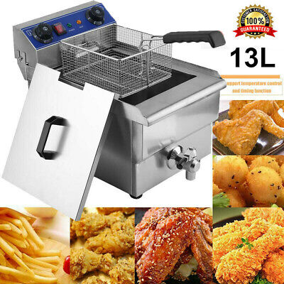 1650w 13.7qt13l Stainless Steel Electric Deep Fryer Home Commercial Ur