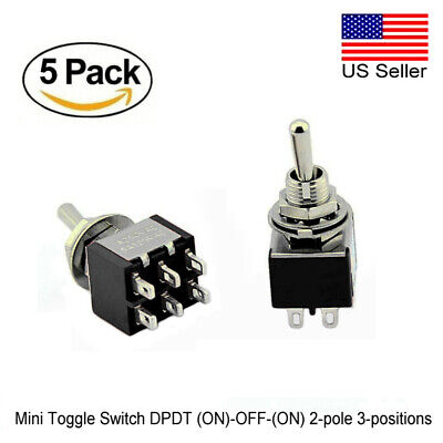 5pcs Mini Dpdt Toggle Switch On-off-on 2-pole 3-position Premium Quality
