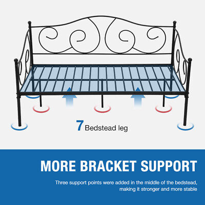 Metal Daybed Twin Bed Frame w/Headboard, Stable Steel Slats Support, Box Spring Beds & Bed Frames