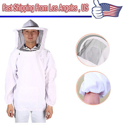 New Large Beekeeping Bee Keeping Suit, Jacket, Pull Over, Smock with Veil WhiteS