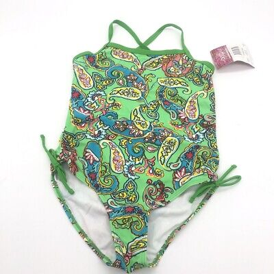 Kanu Surf Big Girls Petal Pop One Piece Swimsuit Soft Tricot Fabric Size 14