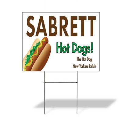Weatherproof Yard Sign Sabrett Hot Dogs Advertising Printing Brown Lawn Garden